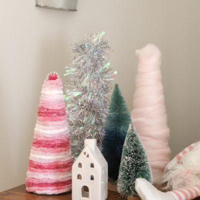 DIY Christmas Yarn Cone Trees